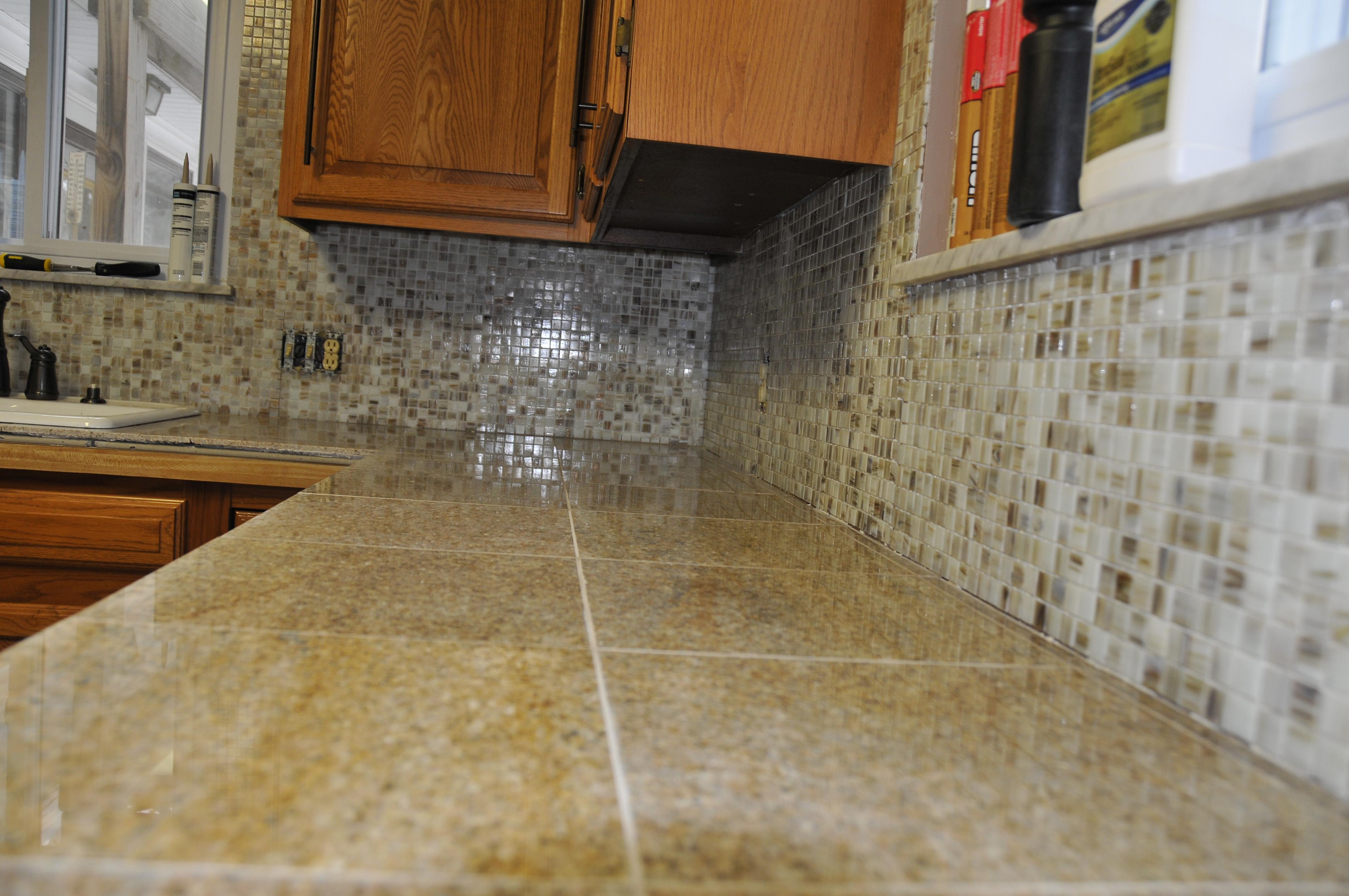 Glass Tile Backsplash with Granite